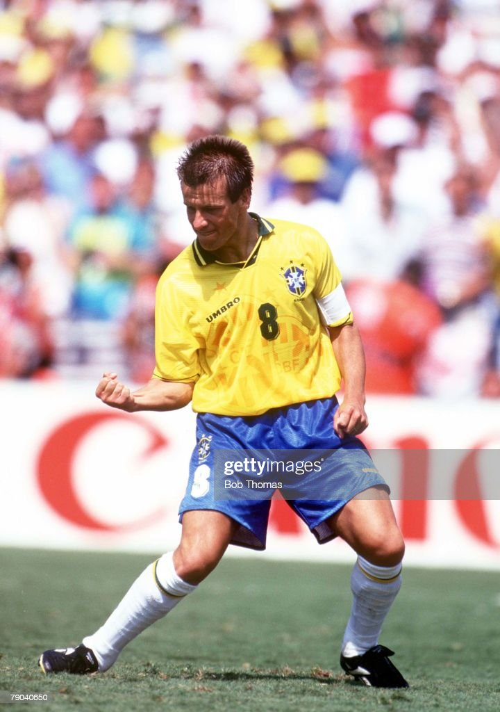 World Cup Final Pasadena USA 17th July Brazil 0 v Italy 0 Brazilian captain Dunga celebrates after he scored the third penalty for Brazil in the...