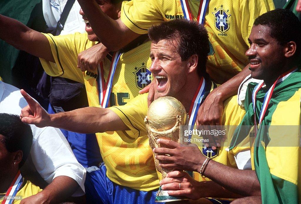 World Cup Final Pasadena USA 17th July Brazil 0 v Italy 0 Brazilian captain Dunga celebrates with the trophy