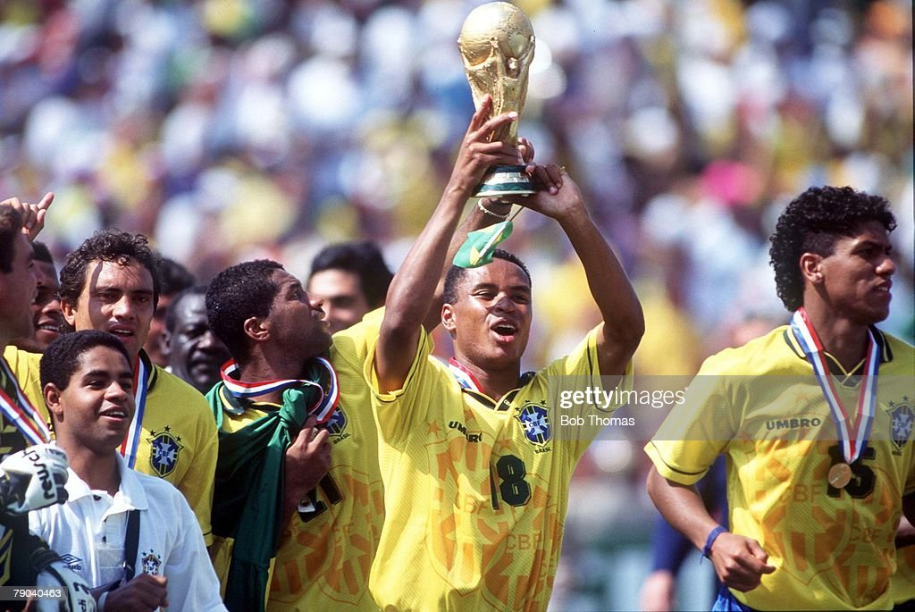 World Cup Final Pasadena USA 17th July Brazil 0 v Italy 0 Brazil's Paulo Sergio holds aloft the trophy at the end