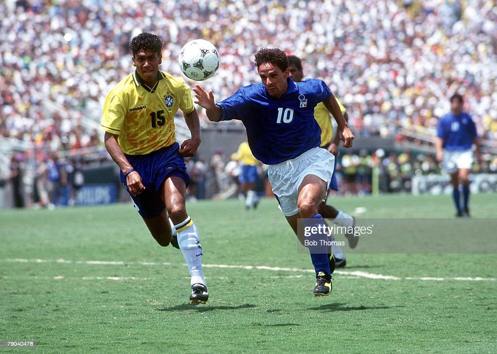 World Cup Final, Pasadena, USA, 17th July, 1994, Brazil 0 v Italy 0, (Brazil won 3-2 on penalties) Brazil's Marcio Santos battles for the ball with Italy's Roberto Baggio during the match