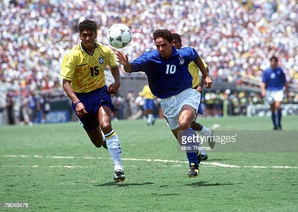 World Cup Final Pasadena USA 17th July Brazil 0 v Italy 0 Brazil's Marcio Santos battles for the ball with Italy's Roberto Baggio during the match