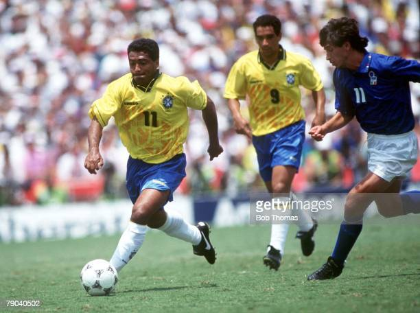 World Cup Final Pasadena USA 17th July Brazil 0 v Italy 0 Brazil's Romario gets away from Italy's Demetrio Albertini