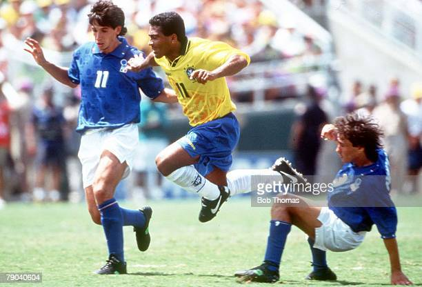 World Cup Final Pasadena USA 17th July Brazil 0 v Italy 0 Brazil's Romario gets away from Italy's Demetrio Albertini and Antonio Benarrivo
