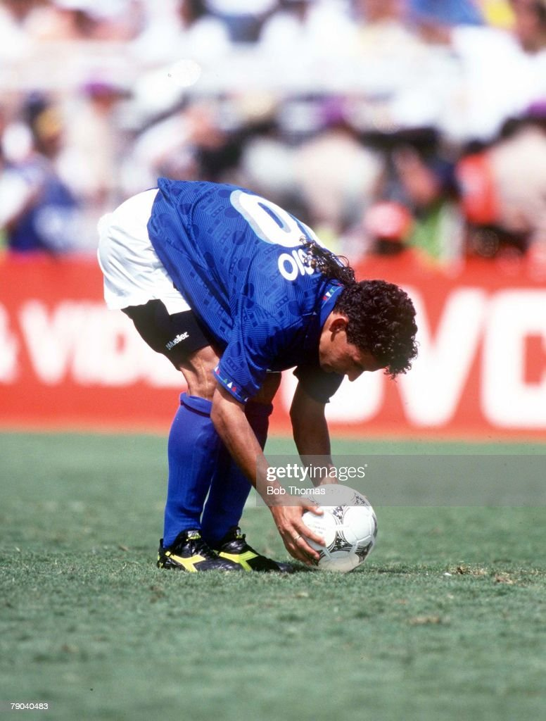 World Cup Final, Pasadena, USA, 17th July, 1994, Brazil 0 v Italy 0, (Brazil won 3-2 on penalties) Italy's Roberto Baggio places the ball before taking his penalty in the shoot-out