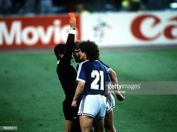 World Cup Final Rome Italy 8th July West Germany 1 v Argentina 0 Argentina's Pedro Troglio strongly protests to referee Edgardo Mendez of Mexico as...