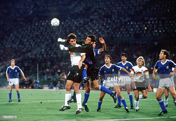 World Cup Final Rome Italy 8th July West Germany 1 v Argentina 0 Argentina's goalkeeper Sergio Goycoechea punches the ball clear as he is put under...