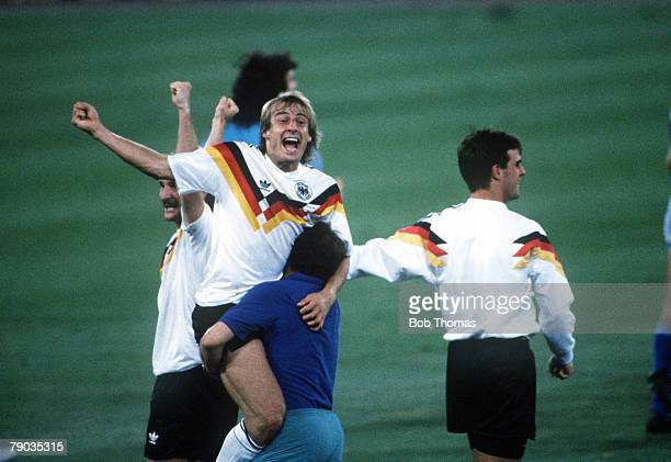 World Cup Final Rome Italy 8th July West Germany 1 v Argentina 0 Jurgen Klinsmann celebrates victory at the end of the match as West Germany become...