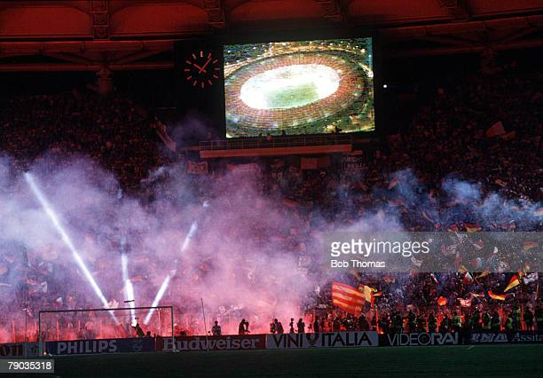 World Cup Final Rome Italy 8th July West Germany 1 v Argentina 0 The firework and laser show at the end of the match as West Germany become World...