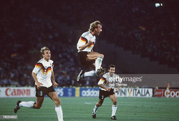 World Cup Final Rome Italy 8th July West Germany 1 v Argentina 0 West Germany's Andreas Brehme leaps for joy after scoring the only goal from the...