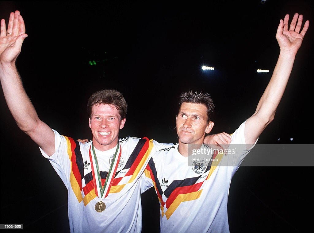 World Cup Final Rome Italy 8th July West Germany 1 v Argentina 0 West Germany's Klaus Augenthaler celebrates victory with Stefan Reuter at the end of...