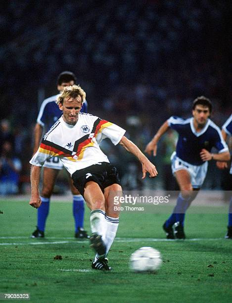 World Cup Final Rome Italy 8th July West Germany 1 v Argentina 0 West Germany's Andreas Brehme scores the game's only goal fom the penalty spot to...