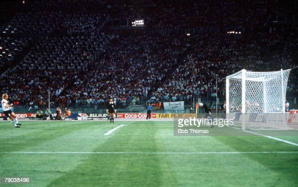 World Cup Final Rome Italy 8th July West Germany 1 v Argentina 0 West Germany's Andreas Brehme scores the match winning goal from the penalty spot...