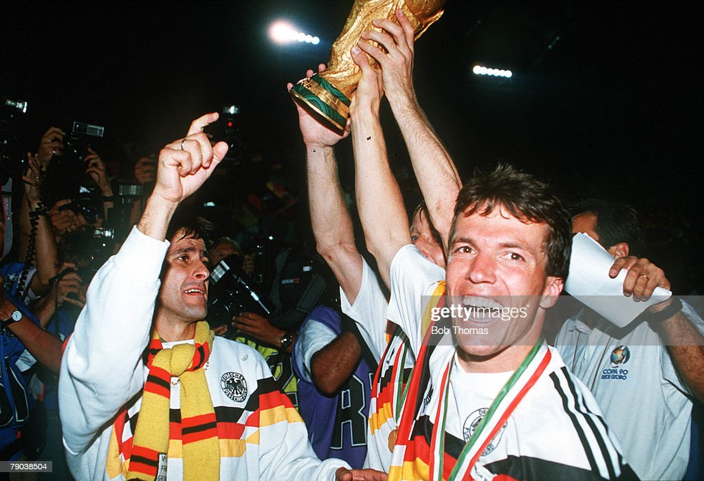 World Cup Final Rome Italy 8th July West Germany 1 v Argentina 0 West German captain Lothar Matthaeus holds aloft the World Cup trophy after their win