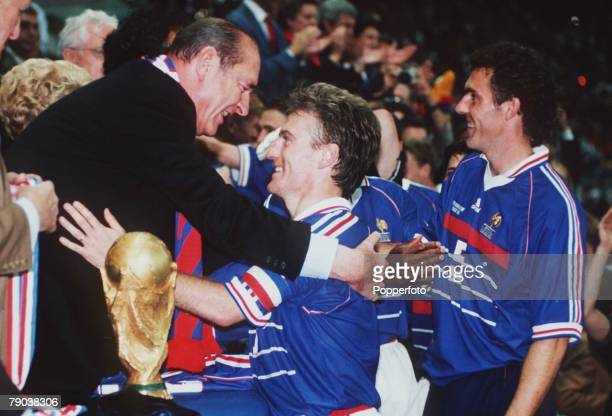 World Cup Final St Denis France 12th July France 3 v Brazil 0 France's captain Didier Deschamps with French President Jacques Chirac before the...