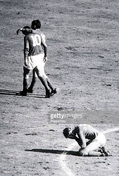 World Cup Final Wembley England 30th July 1966 England 4 v West Germany 2 England's Jack Charlton falls to his knees in relief as teammate Geoff...