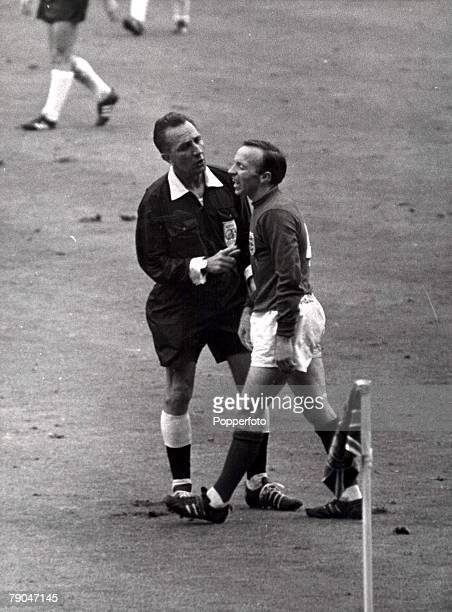 World Cup Final Wembley England 30th July 1966 England 4 v West Germany 2 Swiss referee Gottfried Dienst stops to have a few sharp words with...