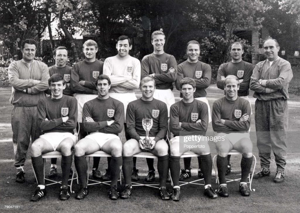 World Cup Final, 1966, Wembley, England, 30th July, 1966 England 4 v West Germany 2, World Champions, England, with the World Cup trophy, Back row: L-R: Harold Sheperdson (trainer), <a gi-track='captionPersonalityLinkClicked' href=/galleries/search?phrase=Nobby+Stiles&family=editorial&specificpeople=220308 ng-click='$event.stopPropagation()'>Nobby Stiles</a>, <a gi-track='captionPersonalityLinkClicked' href=/galleries/search?phrase=Roger+Hunt&family=editorial&specificpeople=703571 ng-click='$event.stopPropagation()'>Roger Hunt</a>, <a gi-track='captionPersonalityLinkClicked' href=/galleries/search?phrase=Gordon+Banks&family=editorial&specificpeople=215465 ng-click='$event.stopPropagation()'>Gordon Banks</a>, Jack Charlton, George Cohen, <a gi-track='captionPersonalityLinkClicked' href=/galleries/search?phrase=Ray+Wilson&family=editorial&specificpeople=908340 ng-click='$event.stopPropagation()'>Ray Wilson</a>, Manager <a gi-track='captionPersonalityLinkClicked' href=/galleries/search?phrase=Alf+Ramsey&family=editorial&specificpeople=217977 ng-click='$event.stopPropagation()'>Alf Ramsey</a>, Front row: L-R: <a gi-track='captionPersonalityLinkClicked' href=/galleries/search?phrase=Martin+Peters&family=editorial&specificpeople=643328 ng-click='$event.stopPropagation()'>Martin Peters</a>, Geoff Hurst, captian <a gi-track='captionPersonalityLinkClicked' href=/galleries/search?phrase=Bobby+Moore&family=editorial&specificpeople=206646 ng-click='$event.stopPropagation()'>Bobby Moore</a>, <a gi-track='captionPersonalityLinkClicked' href=/galleries/search?phrase=Alan+Ball+-+World+Cup+Winner&family=editorial&specificpeople=213401 ng-click='$event.stopPropagation()'>Alan Ball</a> and Bobby Charlton.