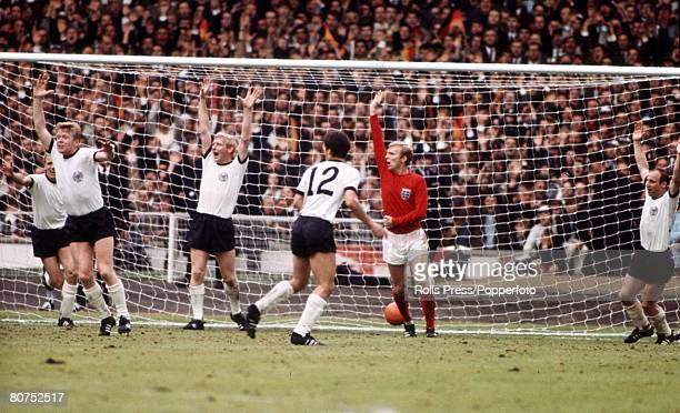 World Cup Final Wembley England 30th July 1966 England 4 v West Germany 2 England's captain Bobby Moore appeals in vain for offside as West Germany...