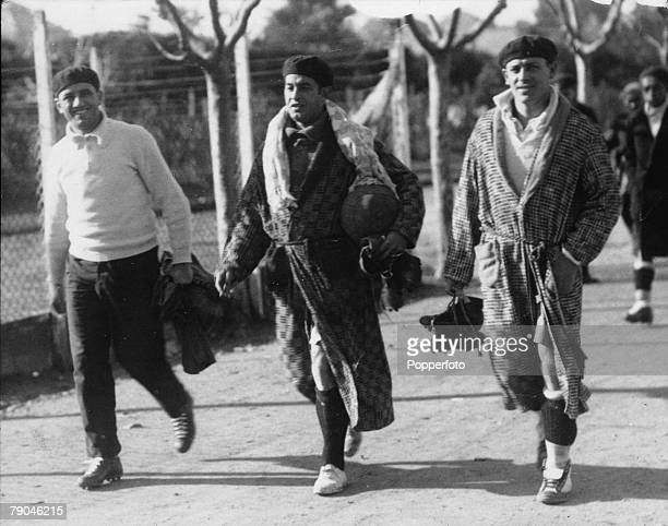 World Cup Finals 1930 Montevideo Uruguay Uruguay's Cea walks to his team's training ground in Montevideo with two colleagues