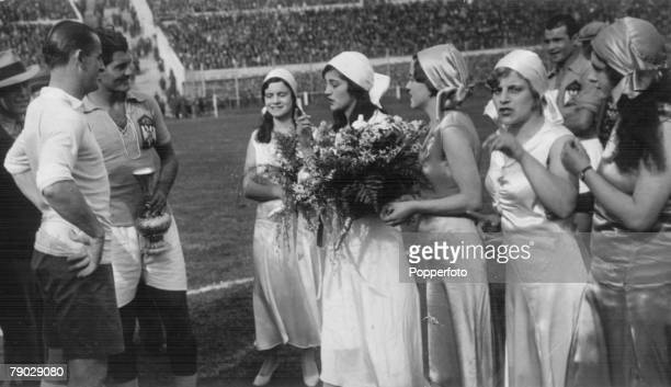 World Cup Finals 1930 Uruguay Montevideo 27th July SemiFinal Uruguay 6 v Yugoslavia 1 Urugauy captain Jose Nasazzi and Yugoslavia's Milutin Ivkovic...