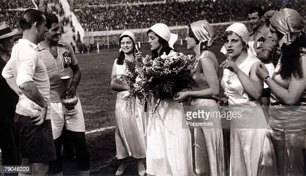 World Cup Finals 1930 Uruguay Montevideo 27th July SemiFinal Uruguay 6 v Yugoslavia 1 Uruguay captain Jose Nasazzi and Yugoslavia's Milutin Ivkovic...