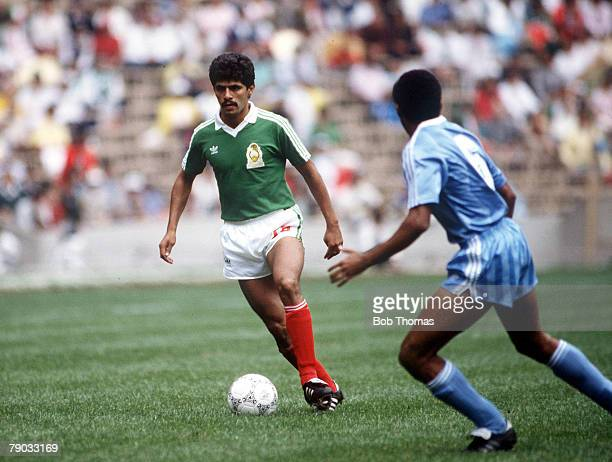 World Cup Finals Azteca Stadium Mexico 11th June Mexico 1 v Iraq 0 Mexico's Luis Flores on the ball marked by Iraq's Shihab