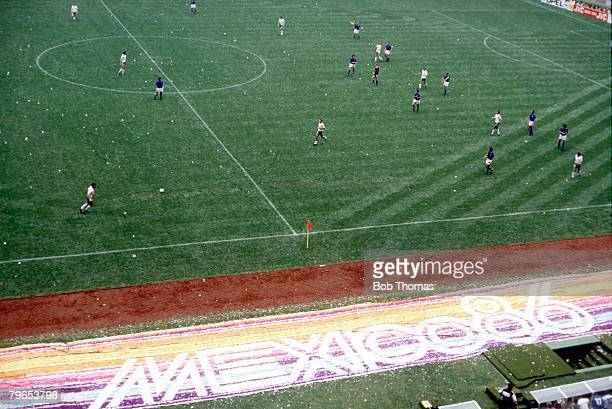 World Cup Finals Azteca Stadium Mexico 31st May Opening Ceremony An aerial view of the match between Italy and Bulgaria in progress on the pitch The...