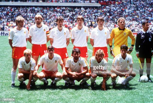 World Cup Finals Azteca Stadium Mexico 3rd June Mexico 2 v Belgium 1 Belgium pose for a team group before the match