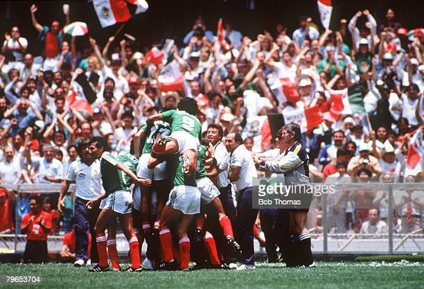 World Cup Finals Azteca Stadium Mexico 3rd June Mexico 2 v Belgium 1 The Mexican team go wild with delight as they celebrate their first goal scored...