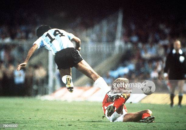 World Cup Finals Barcelona Spain 13th June Argentina 0 v Belgium 1 Belgium's Ludo Coeck fouls Argentina's Jorge Olguin