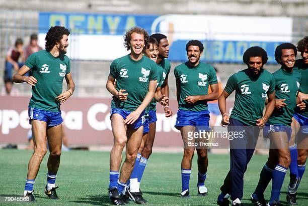 World Cup Finals Barcelona Spain 30th June Brazil training Socrates Paulo Falcao and Junior lead their teammates during a training session