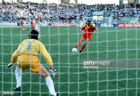 World Cup Finals Bari Italy 9th June Romania 2 v USSR 0 Romania's Marius Lacatus scores his second goal of the match from the penalty spot
