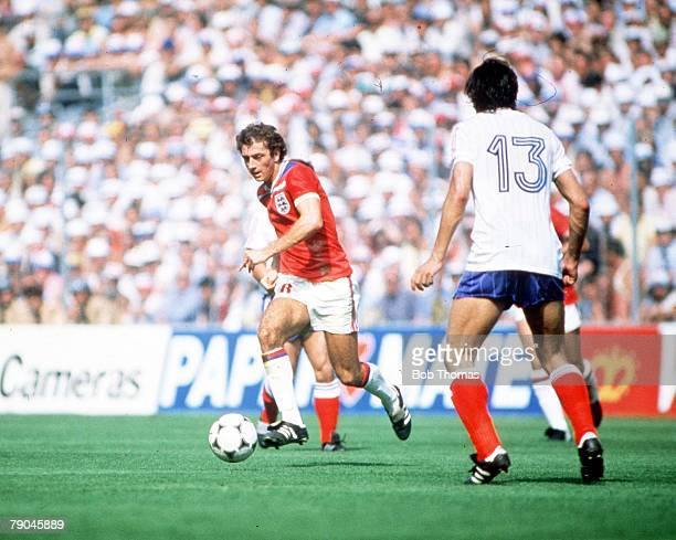 World Cup Finals Bilbao Spain 16th June England 3 v France 1 England's Trevor Francis is faced by France's Jean Francois Larios
