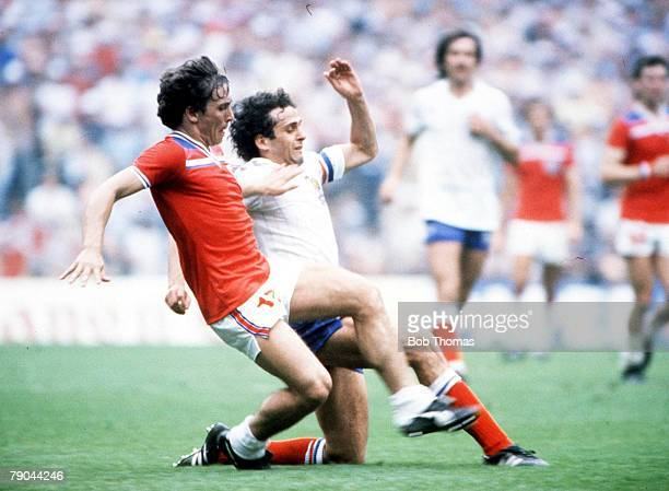 World Cup Finals Bilbao Spain 16th June England 3 v France 1 France's Michel Platini is tackled by England's Kenny Sansom