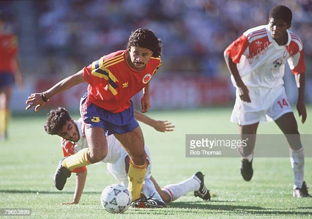 World Cup Finals Bologna Italy 10th June Colombia 2 v United Arab Emirates 0 Colombia's Gildardo Gomez moves away from UAE's Adnan Al Talyani