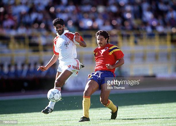 World Cup Finals Bologna Italy 10th June Colombia 2 v United Arab Emirates 0 Colombia's Gildardo Gomez battles for the ball with UAE's Adnan Al...