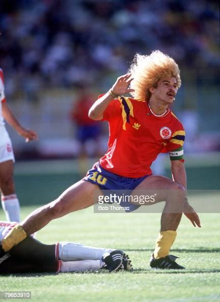World Cup Finals Bologna Italy 10th June Colombia 2 v United Arab Emirates 0 Colombia's Carlos Valderrama