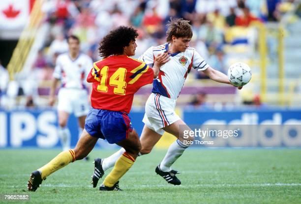 World Cup Finals Bologna Italy 14th June Yugoslavia 1 v Colombia 0 Yugoslavia's Dragan Stojkovic moves past Colombia's Leonel Alvarez with the ball