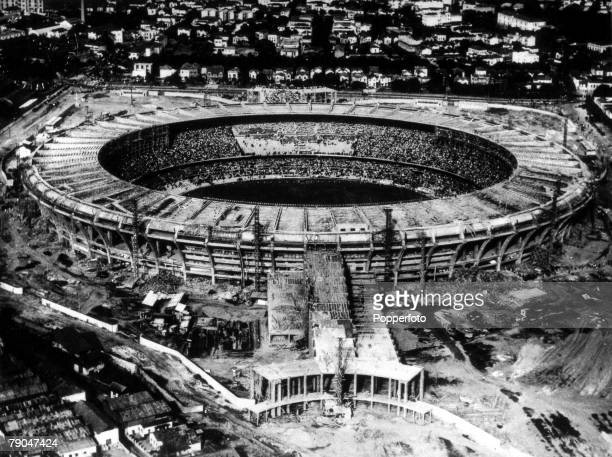 World Cup Finals Brazil Rio De Janeiro Aerial view of the gigantic Maracana Stadium still under construction for the 1950 World Cup finals
