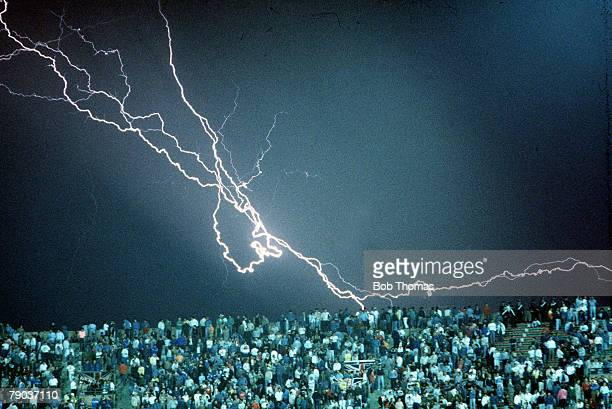 World Cup Finals Cagliari Italy 11th June England 1 v Republic Of Ireland 1 A huge lightning bolt strikes over the Sant' Elia Stadium during the match