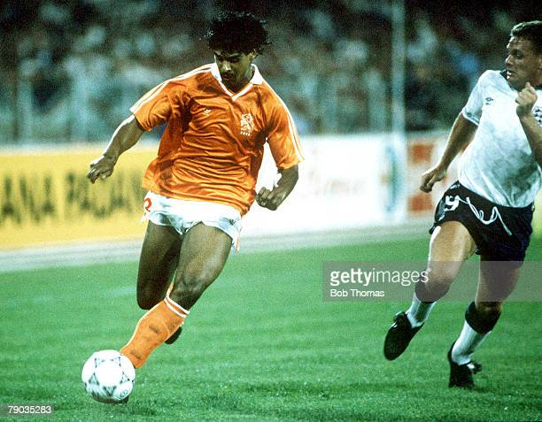 World Cup Finals Cagliari Italy 16th June England 0 v Holland 0 England's Paul Gascoigne chases Holland's Frank Rijkaard for the ball