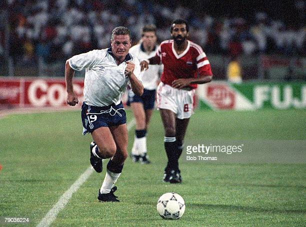 World Cup Finals Cagliari Italy 21st June England 1 v Egypt 0 England's Paul Gascoigne on the attack