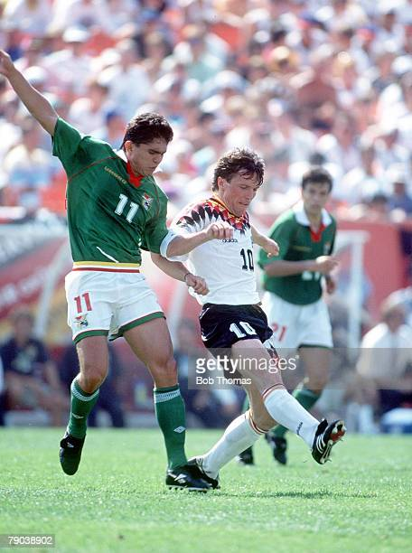 World Cup Finals Chicago USA 17th June Germany 1 v Bolivia 0 Bolivia's Jamie Moreno fights for the ball with Germany's Lothar Matthaus