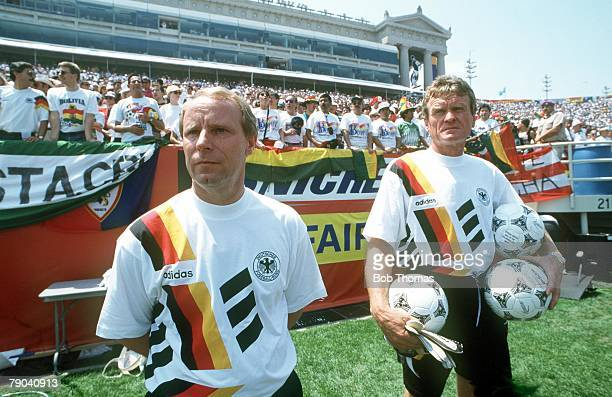 World Cup Finals Chicago USA 17th June Germany 1 v Bolivia 0 German coach Berti Vogts and Sepp Maier before the match