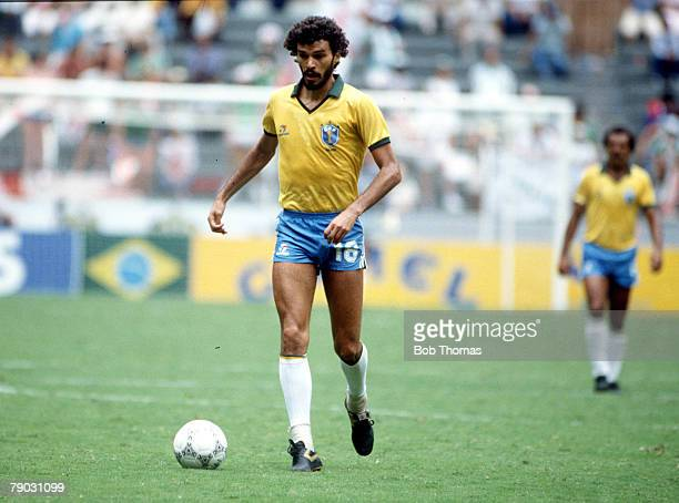 World Cup Finals Guadalajara Mexico 12th June Brazil 3 v Northern Ireland 0 Brazil's Socrates on the ball