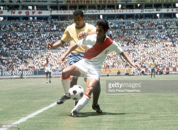 World Cup Finals Guadalajara Mexico 14th June Brazil 4 v Peru 2 Brazil's Jairzinho tries to win the ball from a Peruvian player during the two team's...