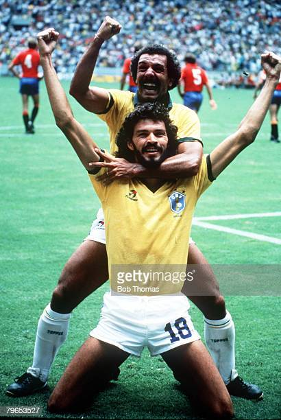 World Cup Finals Guadalajara Mexico 1st June Brazil 1 v Spain 0 Brazil's Socrates celebrates his goal with Junior