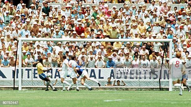 World Cup Finals Guadalajara Mexico 7th June England 0 v Brazil 1 Brazil's Pele directs his header towards the England goal Many fans behind are...