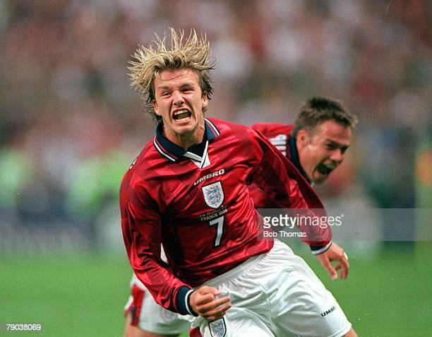 World Cup Finals Lens France 26th June England 2 v Colombia 0 England's David Beckham celebrates his goal scored from a free kick