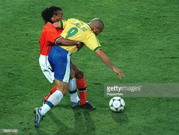 World Cup Finals Marseille France SemiFinal 7th July Brazil 1 v Holland 1 Brazil's Ronaldo is held back by Holland's Edgar Davids